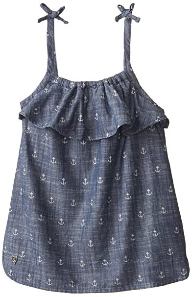 Hathi Ruffle Smocked Tank Top- Chambray Anchors - Blusa para niñas, color azul,
