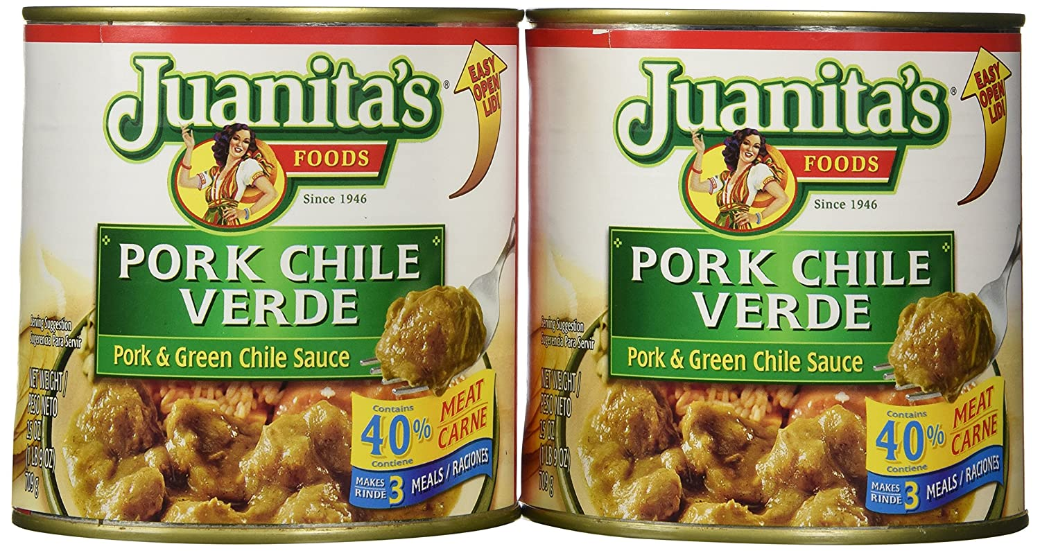 Juanita's CHILE VERDE Pork & Green Chile Sauce 25oz (2 Cans)