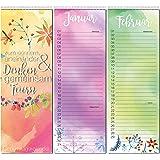 detailverliebt! Farbenfroher Geburtstagskalender mit Spiralbindung, kal_13   Kalender zum Eintragen von Geburtstagen, Birthday, Geburtstag, Jahresunabhänigig, Sternzeichen
