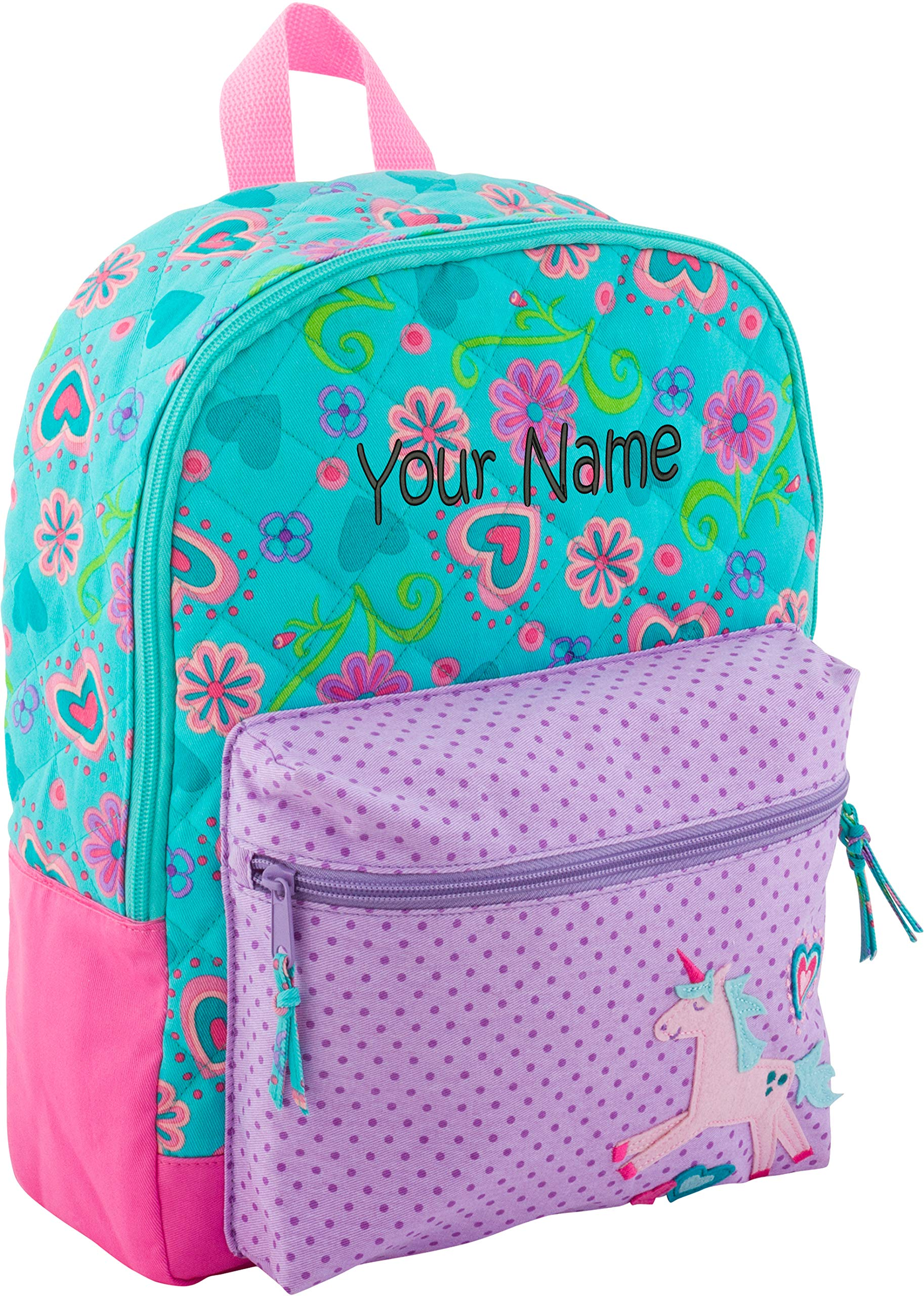 Personalized Stephen Joseph Unicorn All Over Print Quilted Rucksack with Embroidered Name by Stephen Joseph
