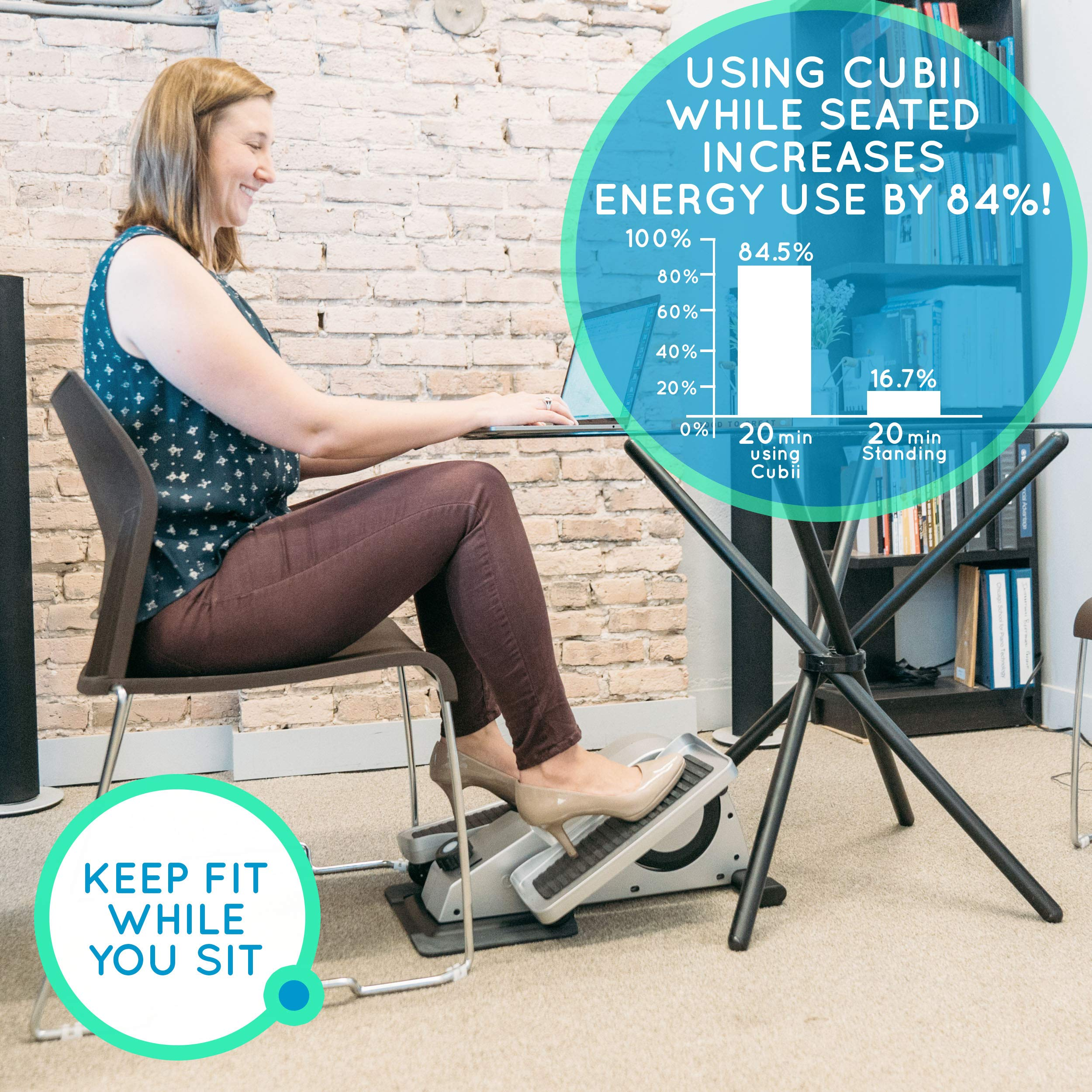Cubii Pro Under Desk Elliptical, Bluetooth Enabled, Sync with Fitbit and HealthKit, Adjustable Resistance, Easy Assembly (Noir) by Cubii (Image #4)