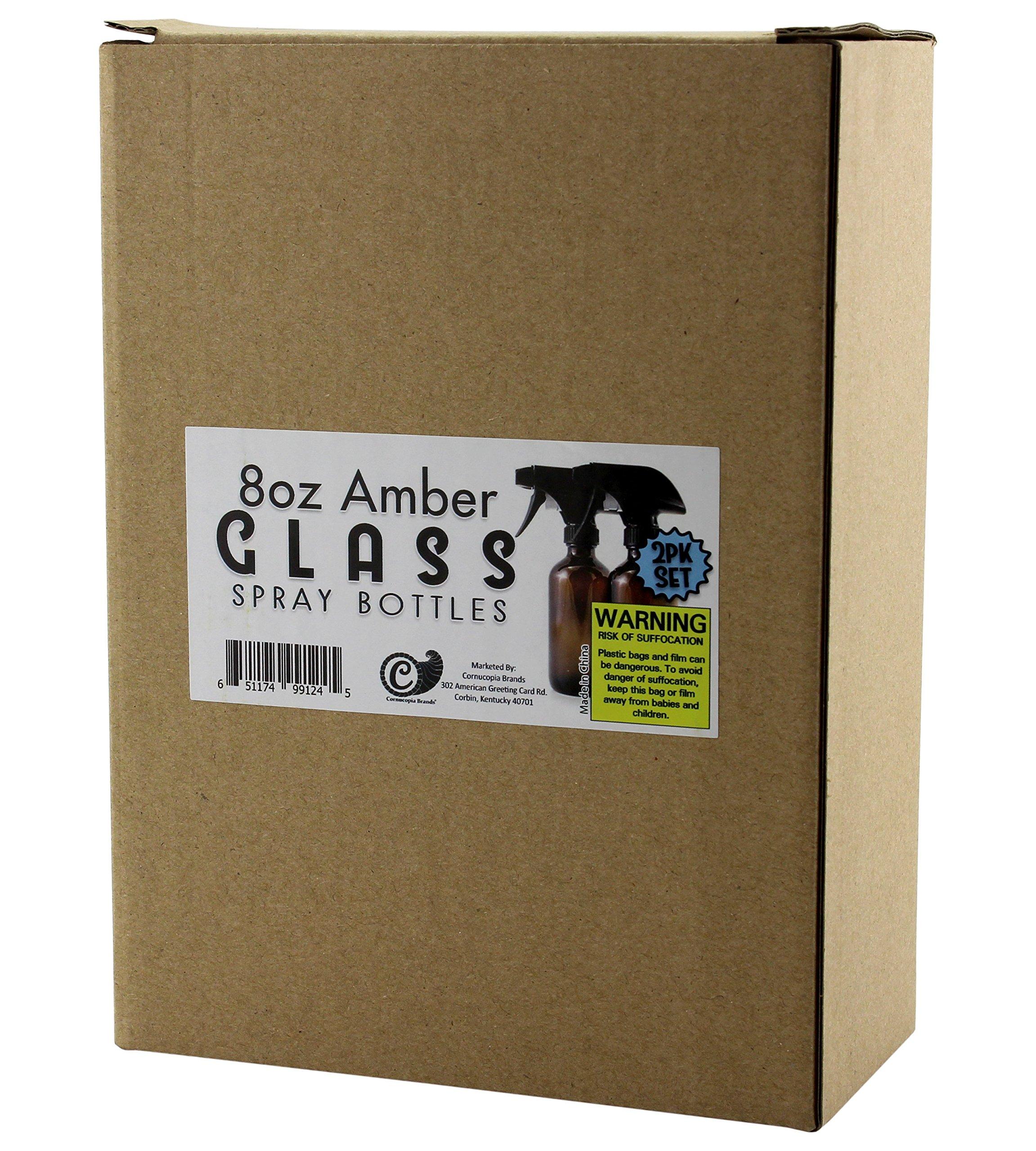 8oz Amber Glass Boston Round Spray Bottles (2 Pack); w/ Heavy Duty Mist & Stream Sprayers Perfect for Essential Oil Blends by Cornucopia Brands (Image #8)