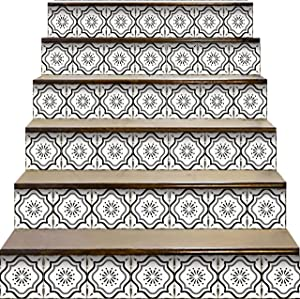 Mi Alma Peel and Stick Tile Backsplash Stair Riser Decals DIY Tile Decals Mexican Talavera Home Decor Staircase Decal Tile Stickers Decals 7''W x 7''L (Set of 24) (My Tile)