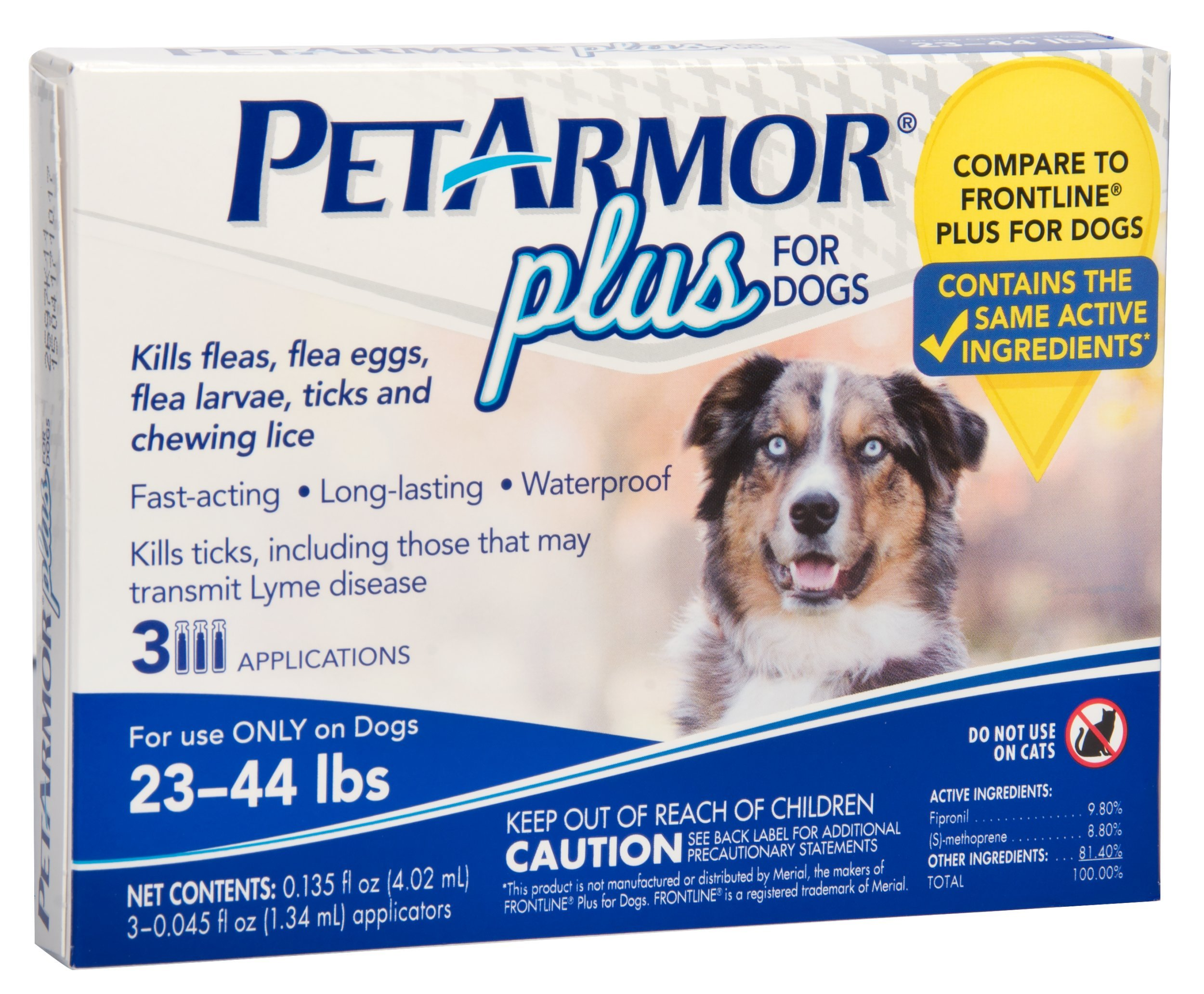 PETARMOR Plus Flea & Tick Prevention for Medium Dogs with Fipronil (23 to 44 Pounds), 3 Monthly Treatments
