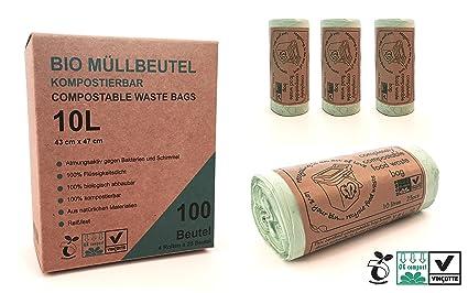 10L biodegradables bolsas de basura biodegradable | 100 bolsa de basura biológica | Certificado 100% compostable | | Saco de basura | casparo Eco ...