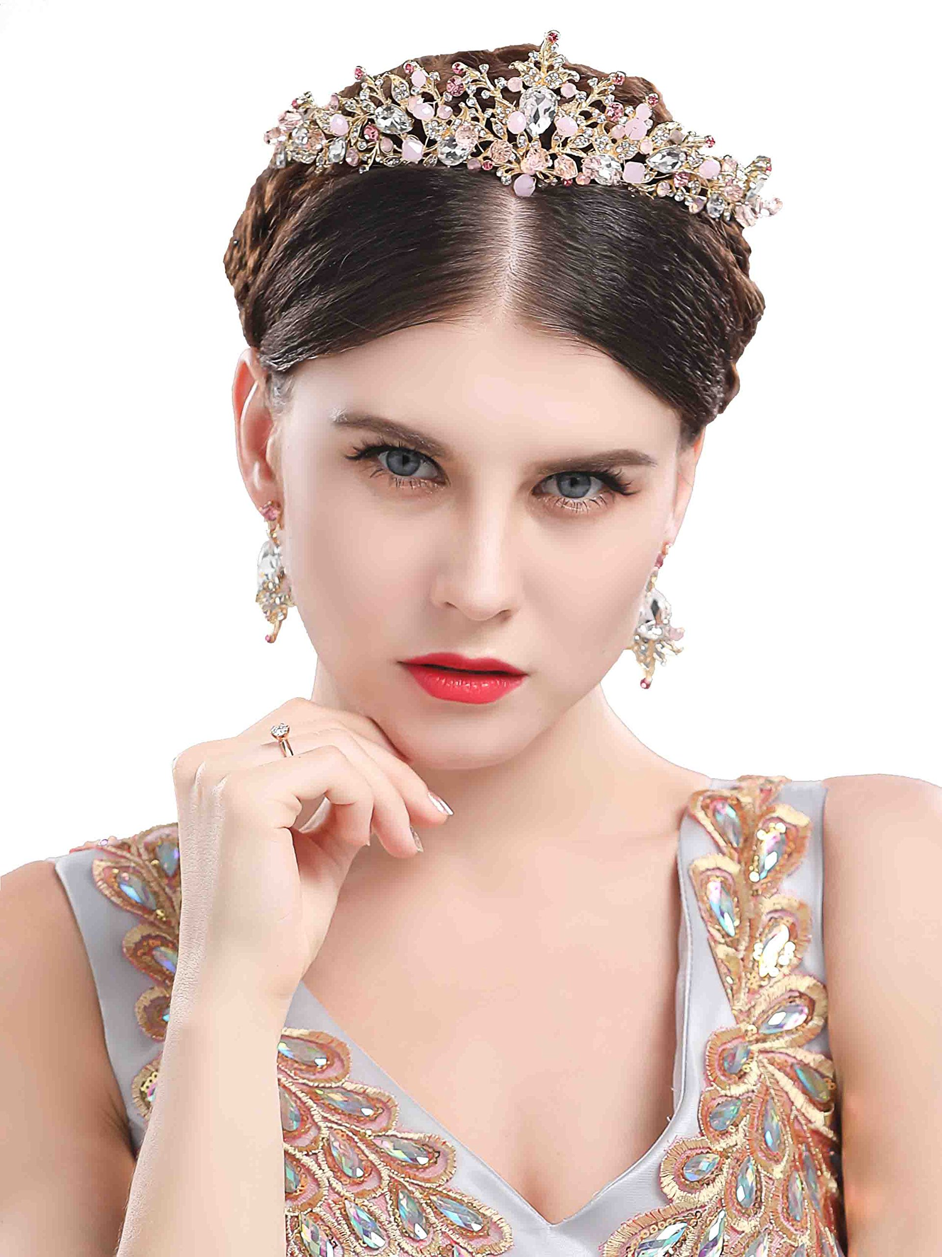 Chicer Baroque wedding Crown Tiara Queen Princess Vintage Rhinestone Tiara Accessories for Women and Girls(Black).(Style B)
