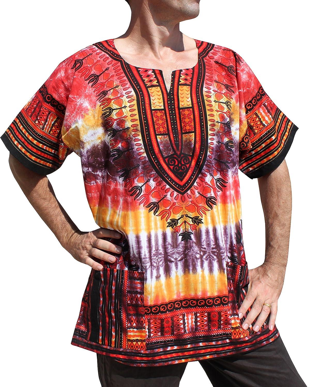 Red  Multi Colour Raan Pah Muang RaanPahMuang African Dashiki Mexican Wild Tie Dyed Short Sleeve Shirt XS7XL