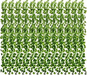 YCbingo Artificial Vines, 83Ft(12Pcs) Faux Fake Ivy Leaves Hanging Greenery Garland Vine Plant for Garden Wedding Party Home Wall Decoration (Scindapsus)