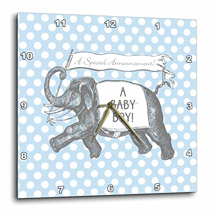3dRose DPP_220177_3 Cute Elephant New Baby Boy Design Over Blue Polka Dots-Wall Clock, 15 by 15