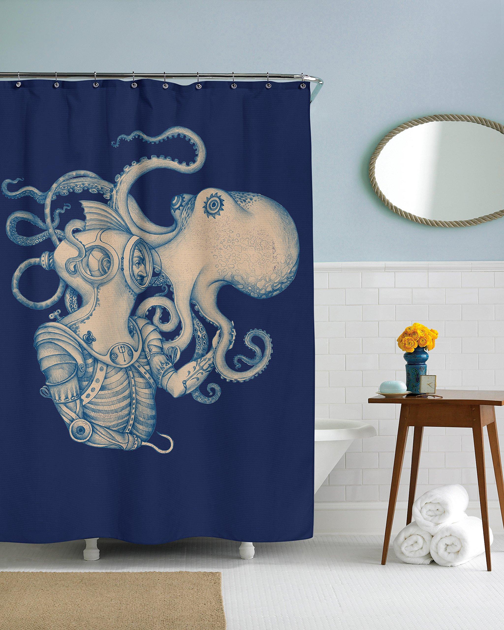 Sharp Shirter Octopus Shower Curtain Steampunk Nautical Decor Pirate Bathroom Theme Gold Kraken Waterproof Fabric 72x72 5