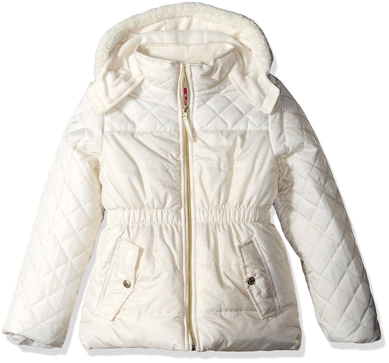 Pink Platinum Girls Quilted Puffer Jacket Mixed Spray Foil Cream 2T Pink Platinum Children' s Apparel PP774288-CRM
