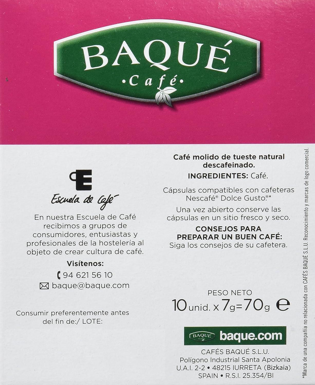 Cafés Baqué Cápsulas Compatibles Dolce Gusto Descafeinado - 70 gr - [Pack de 4]: Amazon.es: Alimentación y bebidas