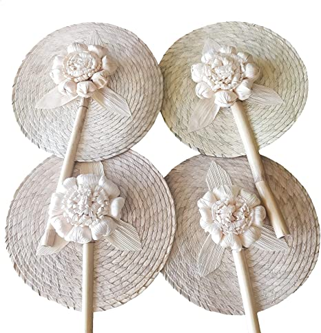 12 Woven Natural Bamboo Hand Fans Wedding//shower Favors