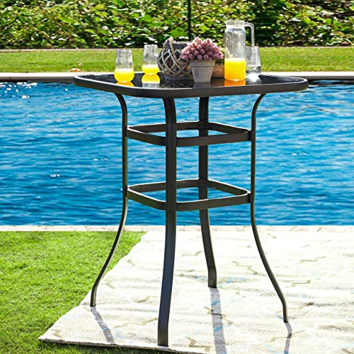 LOKATSE HOME Outdoor Bistro Bar Height Table Metal Frame Square Tempered Furniture Glass Top All Weather