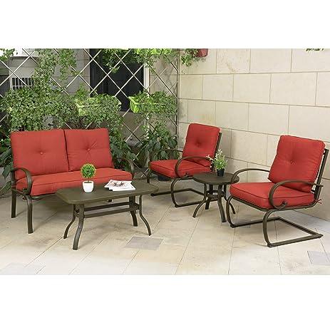 Cloud Mountain 5 Piece Cushioned Outdoor Furniture Garden Patio  Conversation Set, Wrought Iron Coffee Table