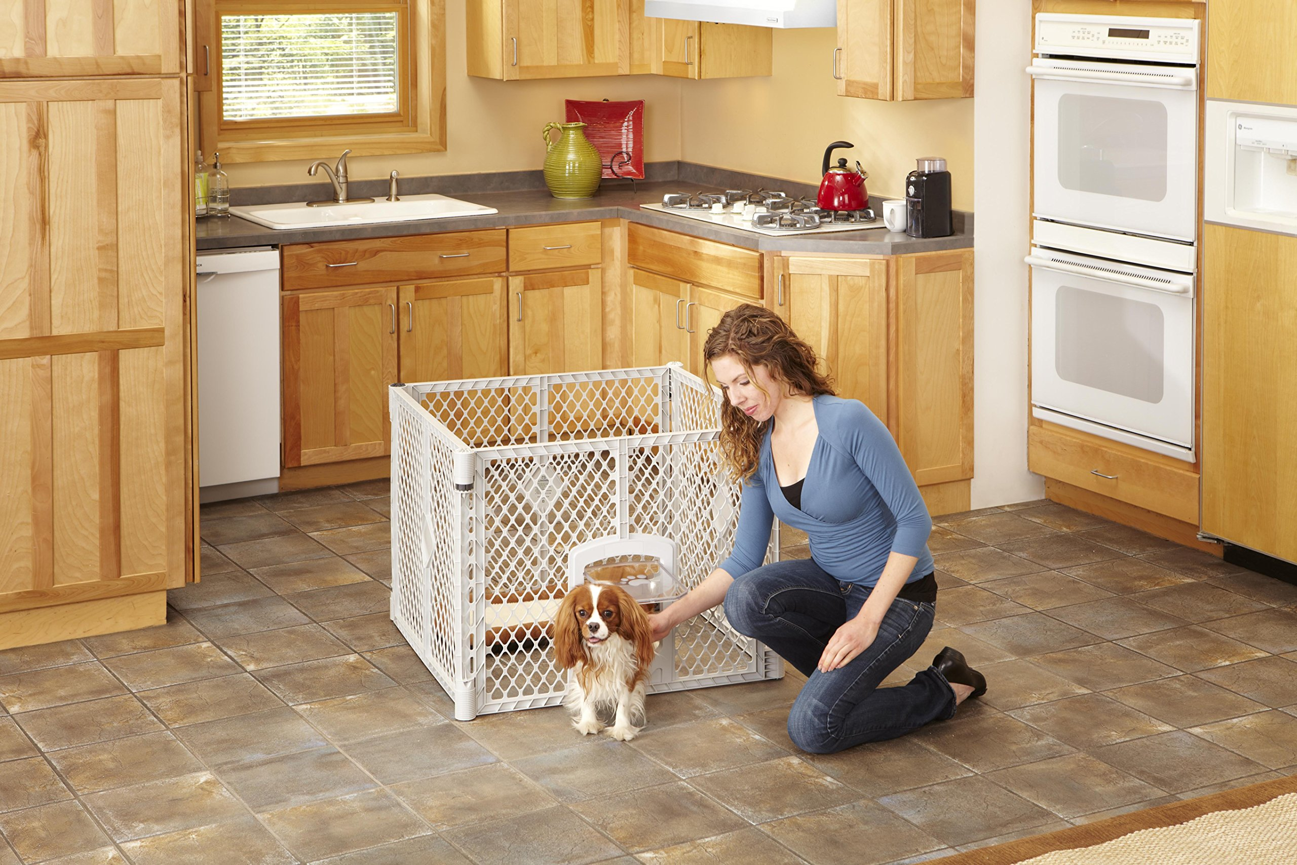 North States MyPet 18.5 Sq. Ft. Petyard Passage: 6-panel pet enclosure with lockable pet door. Freestanding, 7 sq. ft. - 18.5 sq. ft. (26'' tall, Light gray) by North States Pet (Image #4)