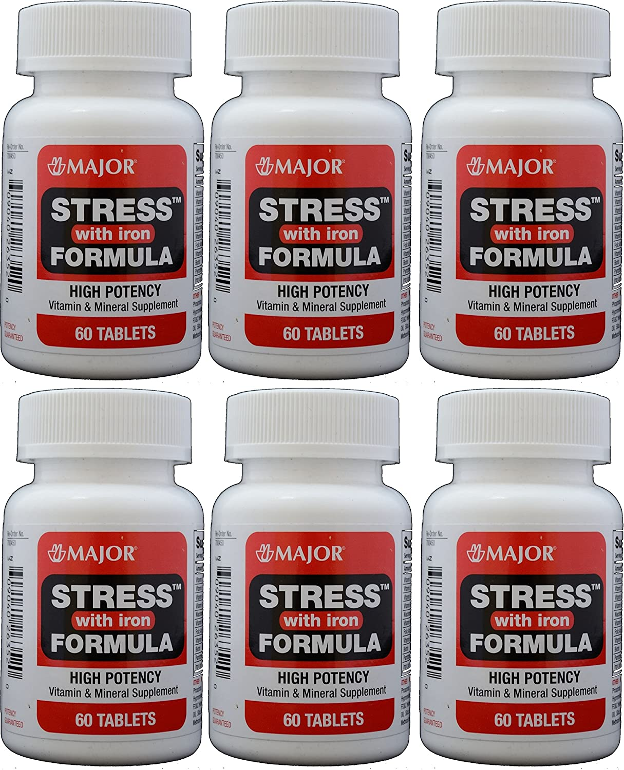 Stress Tab with Iron High Potency Stress Formula with B-Vitamins, C E, plus Antioxidants and Iron For Immune Support 60 Tablets per Bottle Pack of 6 Total 360 Tablets