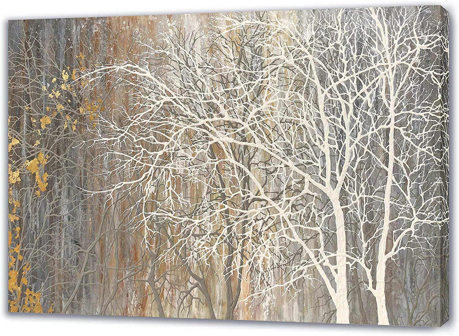 Yihui Arts White Birch Trees Painting 3D Canvas Art On Canvas Abstract Artwork Art Wood Inside Framed Hanging Wall Decoration Abstract Painting One Panel for Home Modern Decor