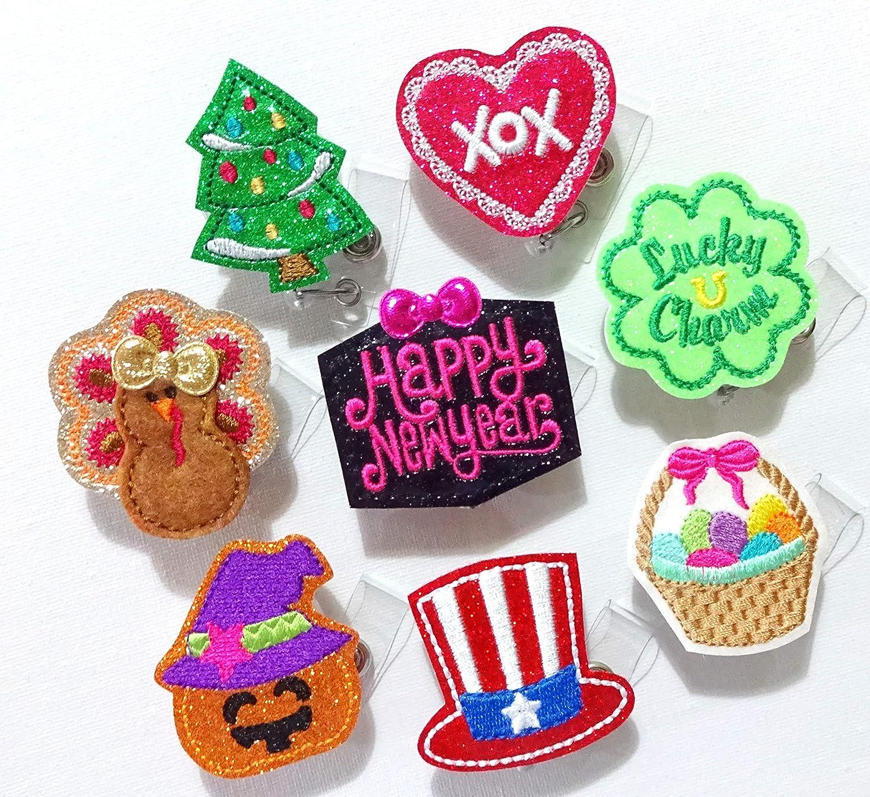 Badge Reel Retractable ID Holder Badge Holder Lanyard Gingerbread Man Holiday Kanzashi