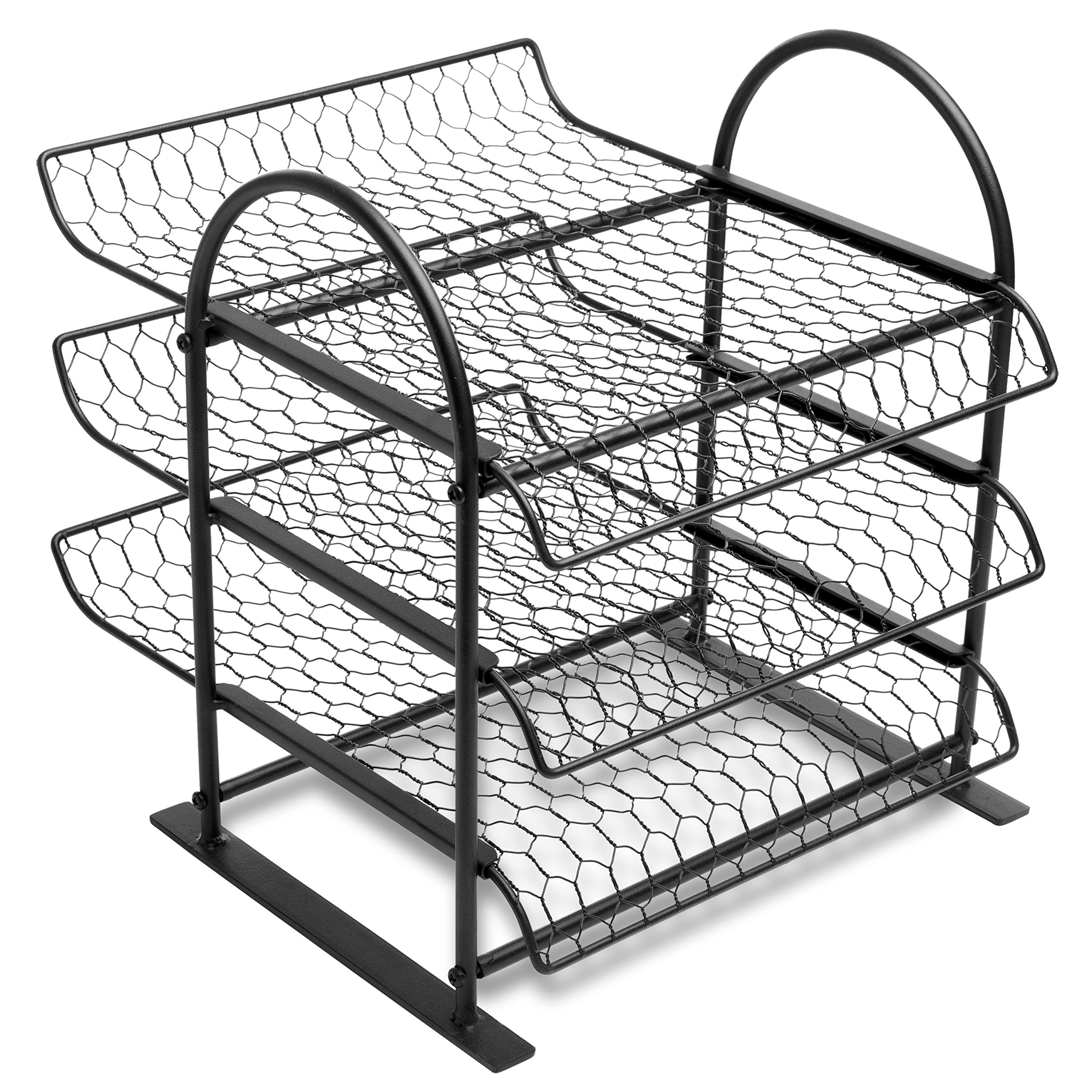 MyGift Metal Chicken Wire Office Document File Organizer with 3-Tier Sliding Trays by MyGift (Image #4)