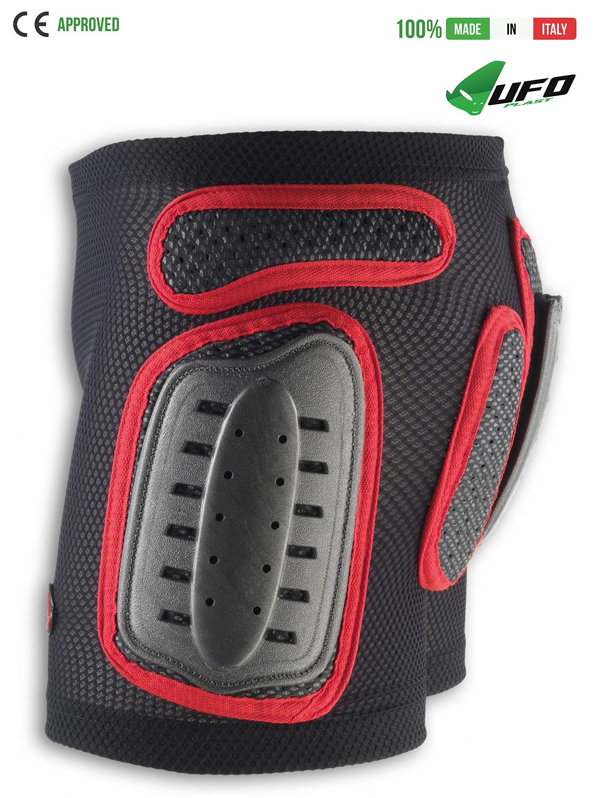 UFO PLAST Made in Italy PI04158 Plastic Padded Shorts for Kids/ Removable Back Protection / Airnet Material / Hip, Side Protection Ergonomic Design for Free Movements / Size: S / Color: Black with Red
