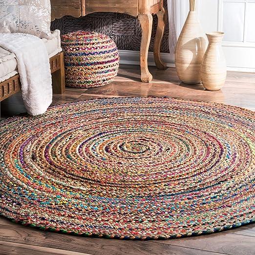 Alfombra de yute de comercio justo hecha a mano, multicolor, india, reciclada, algodón, natural, 60 cm: Amazon.es: Juguetes y juegos