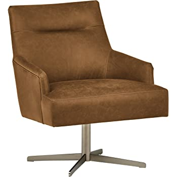 Amazon.com: Rivet Jamie Mid-Century Leather Low Arm Accent Chair, 31 ...