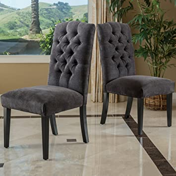 Delightful Clark Dining Furniture ~ Upholstered Dining Chairs W/ Tufted Backrest (Set  Of 2)