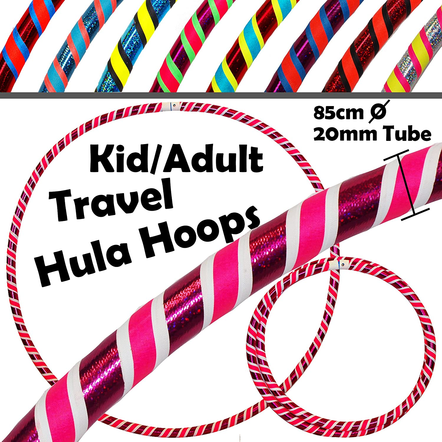 KIDS Hula Hoops (Ultra-Grip/Glitter Deco) - 3 COLOUR Weighted Childrens and Adults TRAVEL Hula Hoop (85cm/33.5 inch) - Hula Hoops For Exercise, Dance & Fitness! (420g) (Blue Glitter / Black / Yellow) Flames N Games
