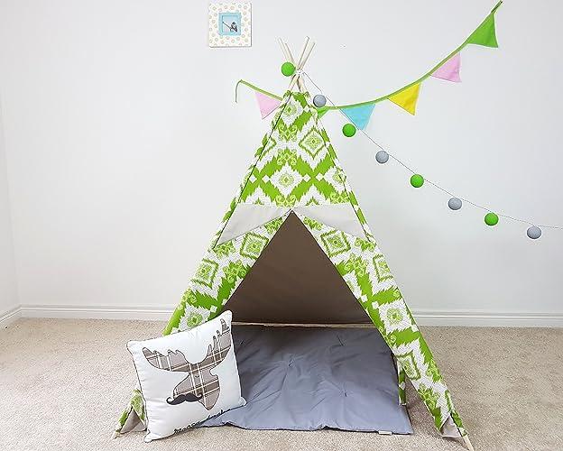 Amazon.com: Kids Teepee Ivory Grey Folk Green Pattern Tipi with ...