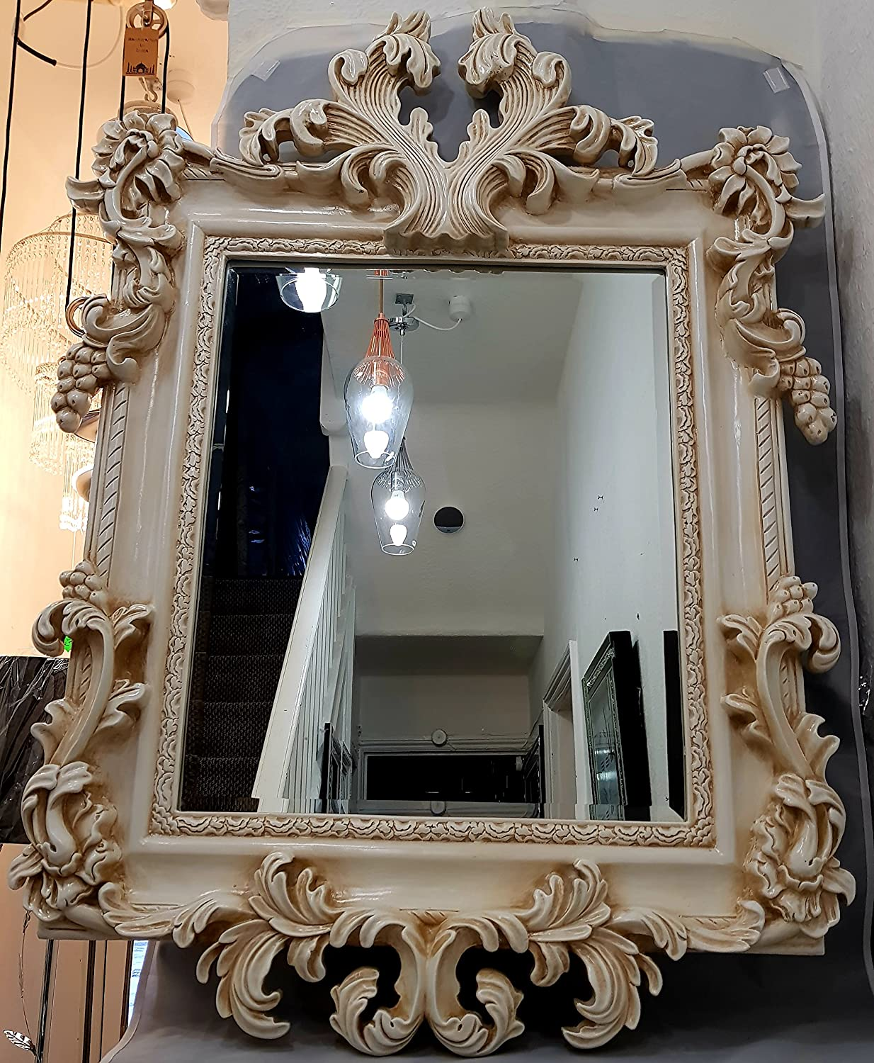Mh Antique Replica Traditional French Style Large Ornate Wall Mirror In Cream Amazon Co Uk Kitchen Home