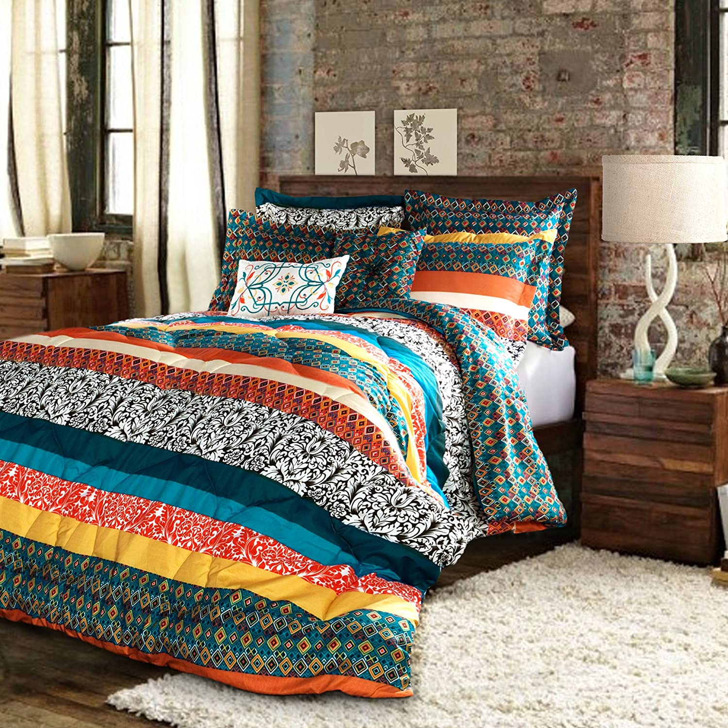 Lush Decor Boho Striped Comforter Bedding Colorful Pattern Bohemian Style Reversible 7 Piece Set, Full - Queen, Turquoise & Tangerine