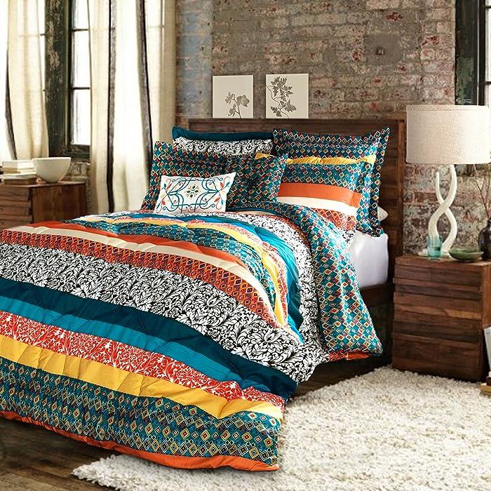 Lush Decor Boho Striped Reversible 7 Piece Comforter Bedding Set, King, Turquoise & Tangerine