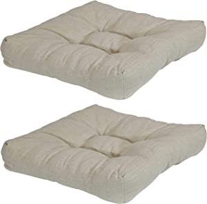 Sunnydaze 2-Piece Tufted Cushion Set for Outdoor Patio Furniture - Replacement Cushions with Olefin Fabric for Outside Chairs and Seating - Seat Pads for Porch, Deck and Garden Seats - Beige