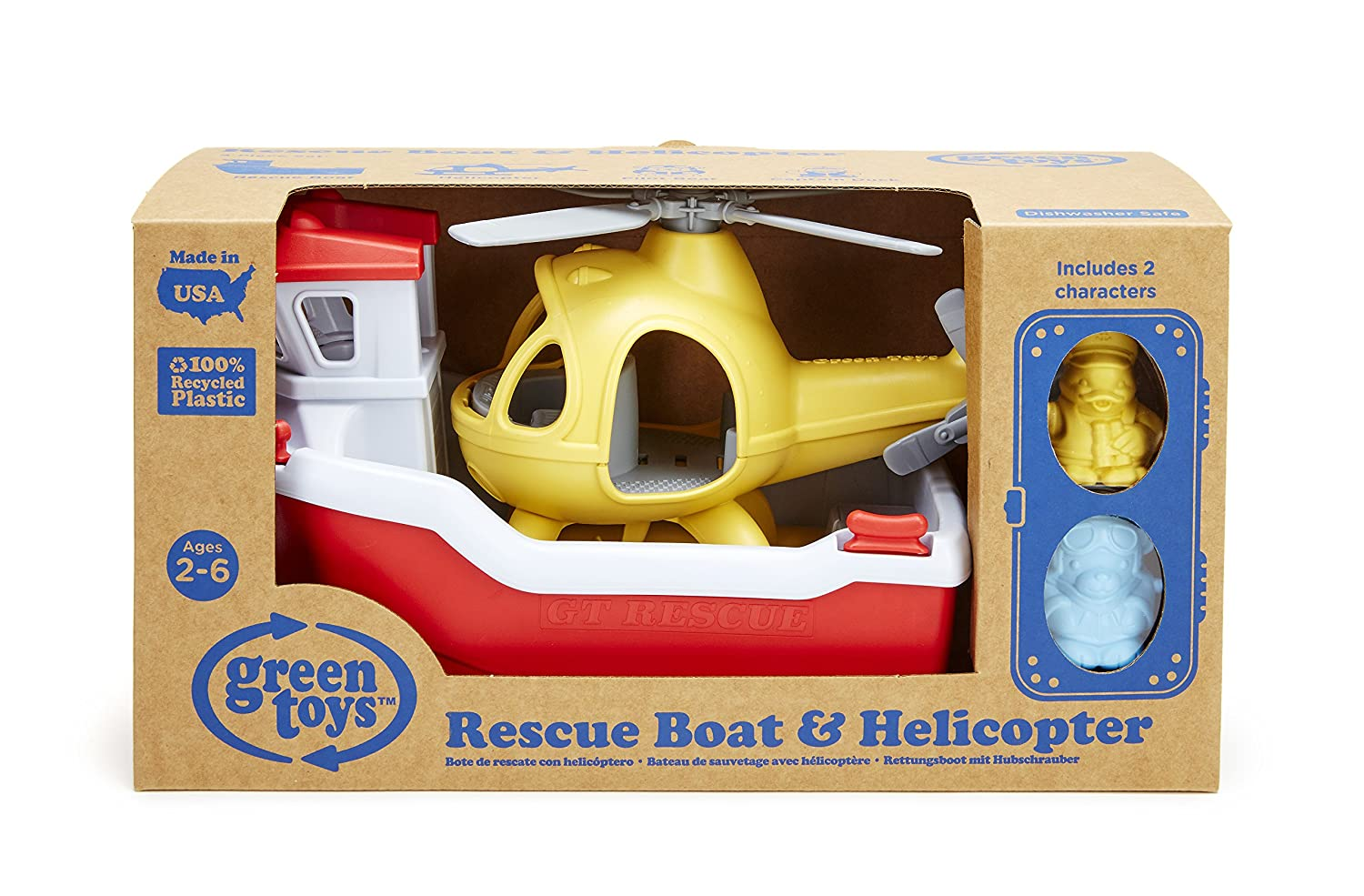 Amazon.com: Green Toys Rescue Boat with Helicopter: Toys & Games