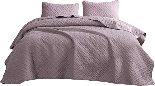 Pink Cozy Beddings Aidee 2pc Coverlet Set Twin//Twin XL Size Bed Lightweight Thermal Pressing Leafage