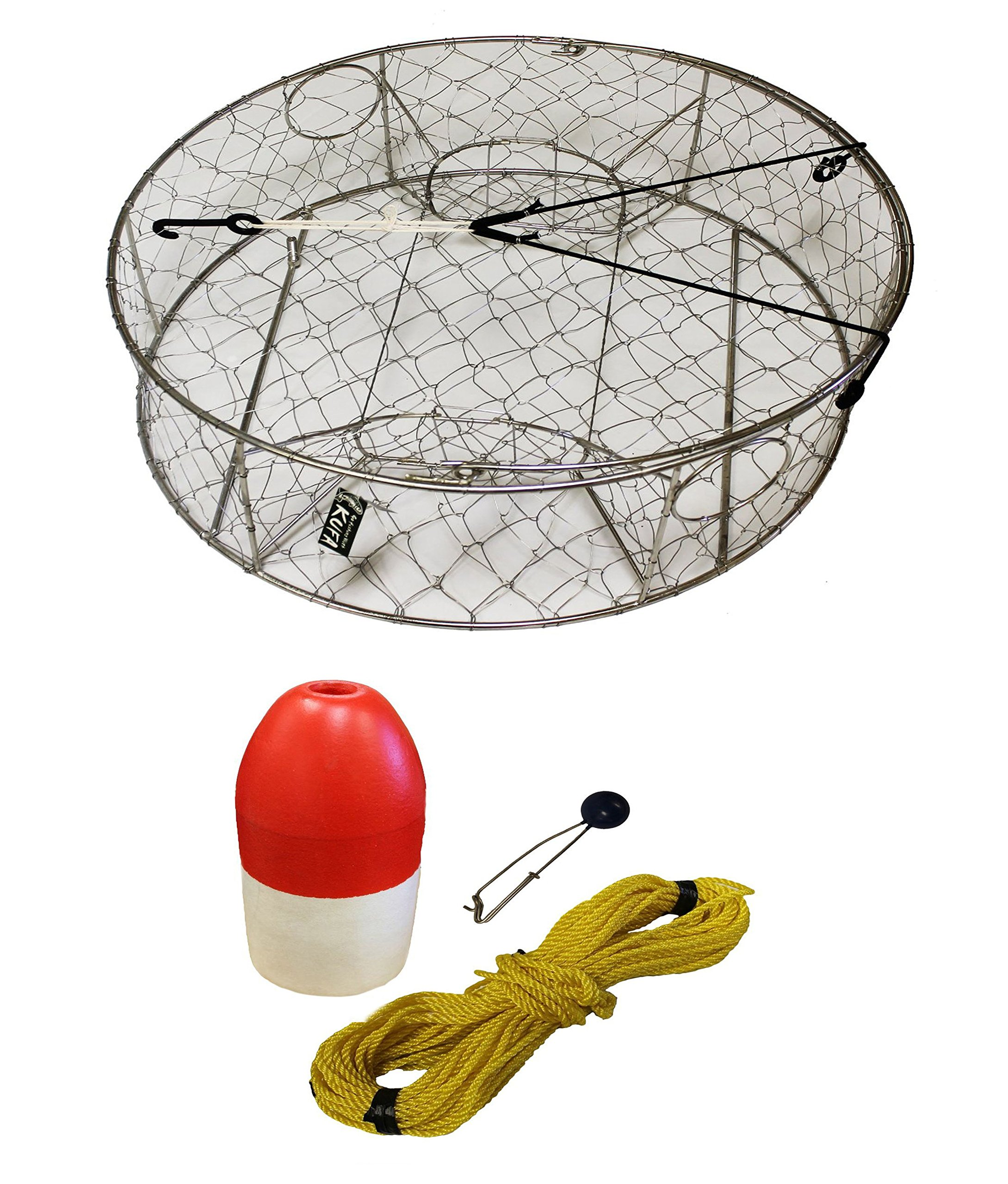 KUFA Stainless Steel Crab Trap with Zinc Anode, 1/4'' x 100' Poly rope with Clip on Line Weight(10oz) and 6''x14'' Red/White Float Combo (CT100+FWP103+ZIN1)