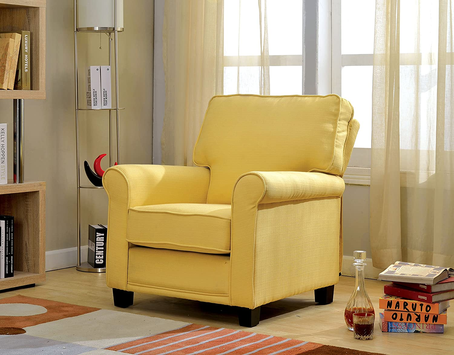 Amazon.com: Furniture Of America Bettie Transitional Upholstered Accent  Chair, Yellow: Kitchen U0026 Dining