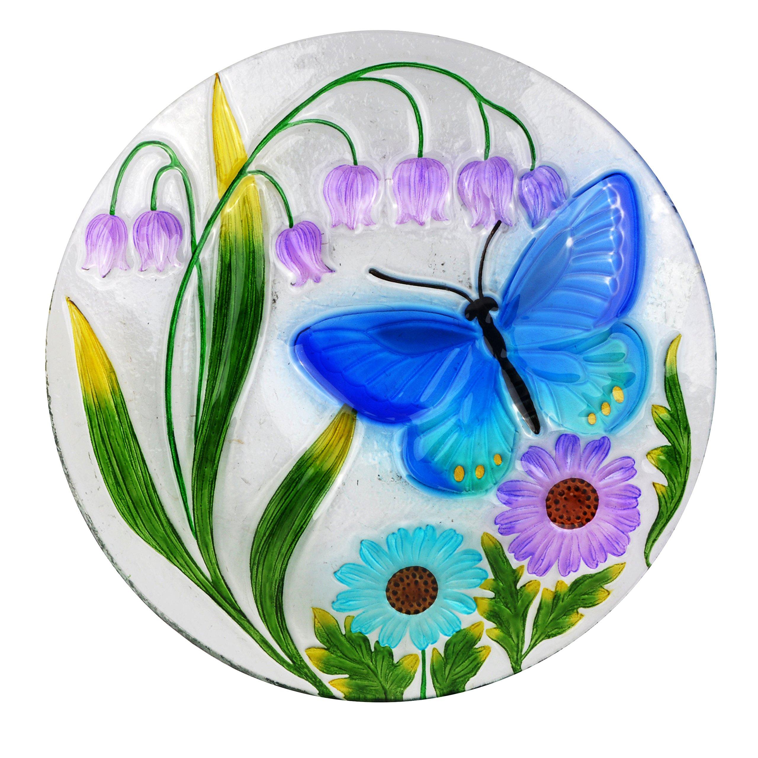 Alpine Corporation 18'' Butterfly & Flowers Birdbath