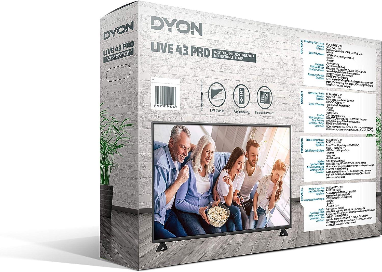 Dyon Live 43 Pro 108 Cm 43 Zoll Fernseher Full Hd Triple Tuner Dvb C S2 T2 Hotelmodus Usb Media Player Heimkino Tv Video