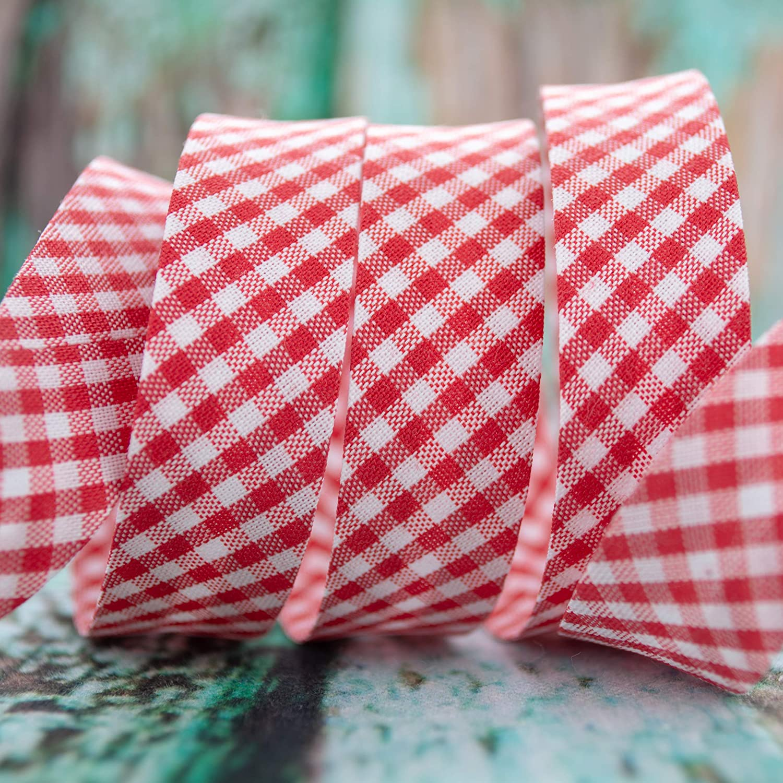 18mm Breite kariert wei/ß Emily/&Joes fabrics B/änder Schr/ägband Vichy rot 1m pro St/ück