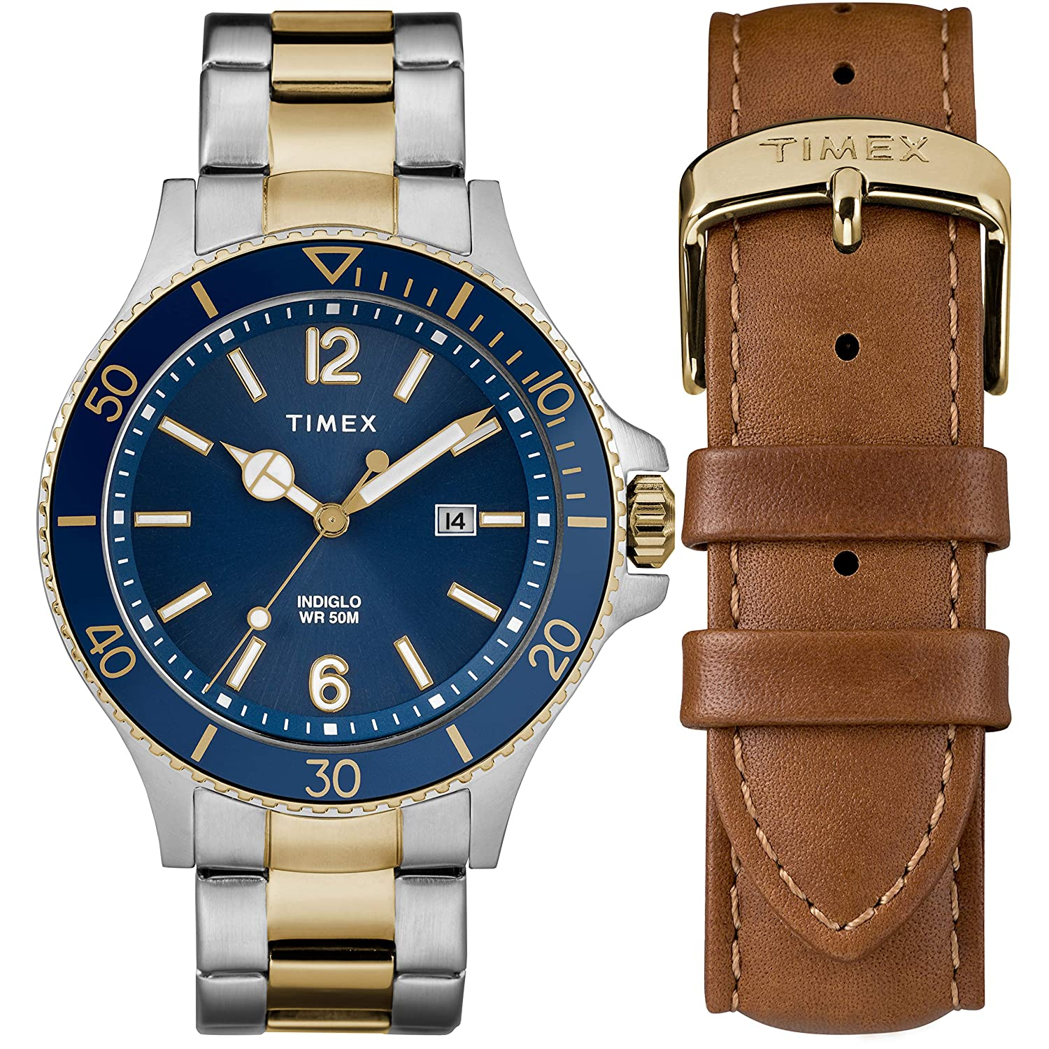 Amazon Timex Men s TWG Harborside Two Tone Blue Stainless
