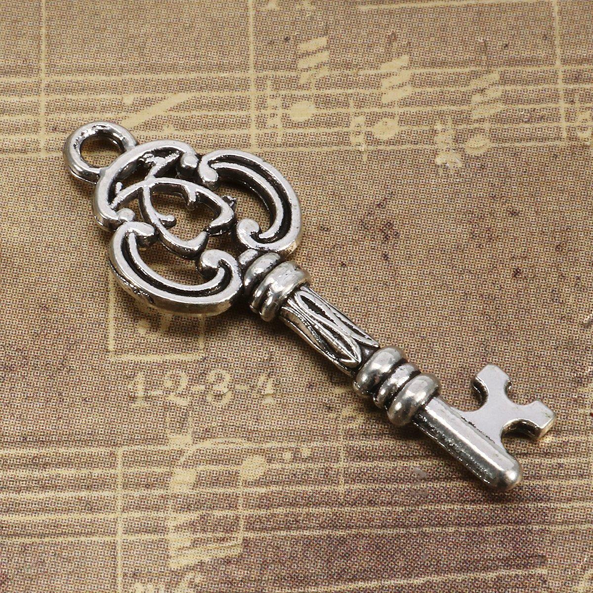 Jeteven 13 Stück Retro Schlüssel Anhänger Bronze Silber Vintage Schmuck Basteln Key Halskette Armband antik Deko 15mm-65mm