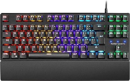 Mars Gaming MKXTKLRPT, Teclado Mecánico RGB LED, Switch Rojo, Portu