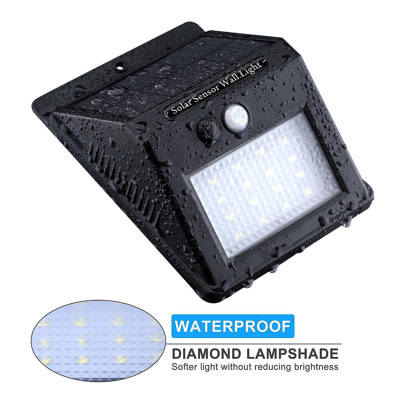 16 LED Lámpara Solar con Sensor de Movimiento,Topop Foco Solar Impermeable de Pared con Diamante Pantalla para Lluminación de Exterior y Seguridad de Camino ...