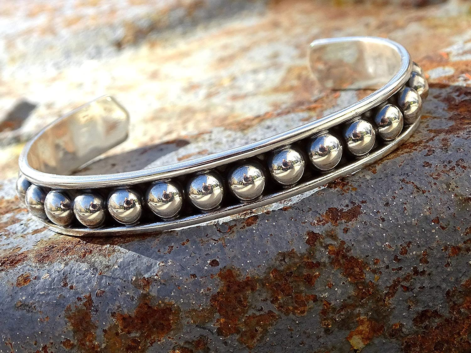 viking cuff for men silver mens cuff beaded bead cuff bracelet solid silver viking cuff bracelet for him mens cuff bracelet silver