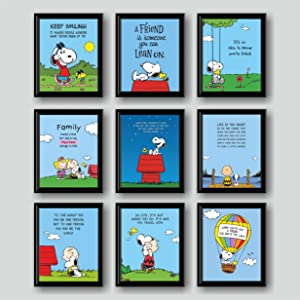 """Sesuka Design - Snoopy poster, Set of 9 (8""""X10"""") No Frame, Woodstock and Charlie Brown, snoopy bedroom decor, snoopy wall decor, snoopy pictures, snoopy wall art, posters for boys room, posters for girl room, motivational for kids wall art poster, girl room wall decor, boys room wall decor, ınspirational for kids wall art poster,"""