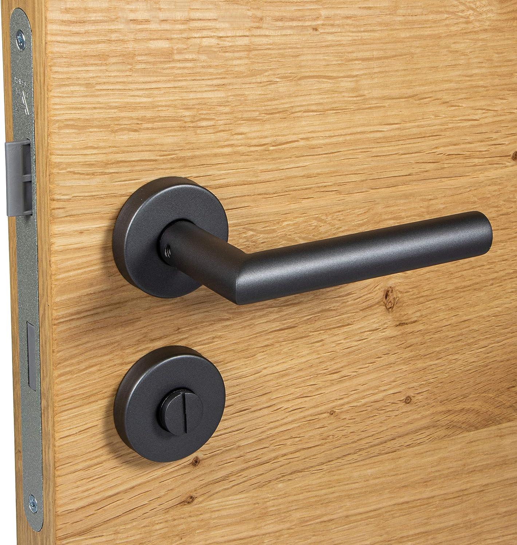 con roseta redonda color antracita y negro mate Picaporte para puerta de acero inoxidable con roseta CHAPO Gedotec para puerta de habitaciones