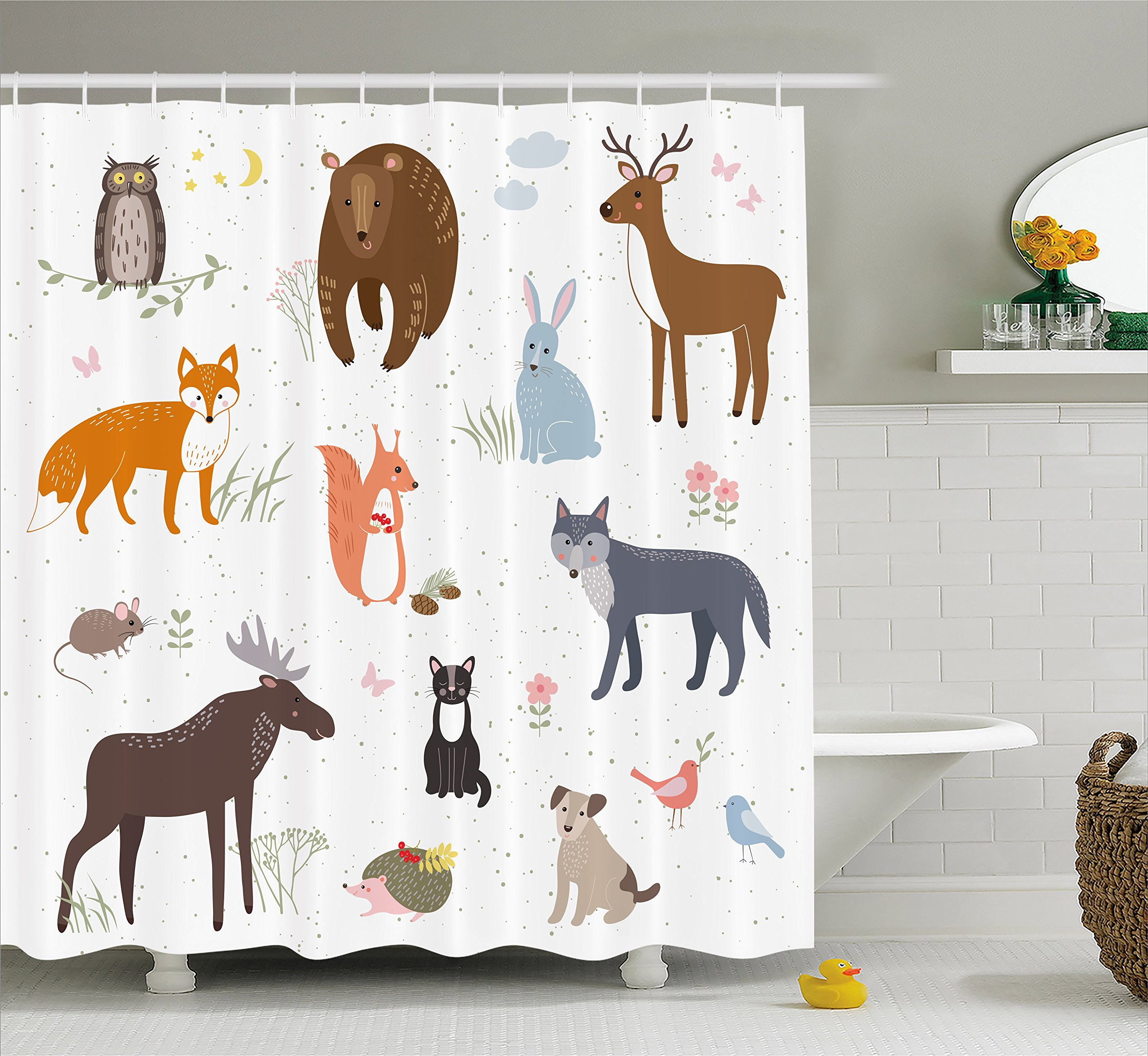 Ambesonne Cabin Decor Shower Curtain by, Cute Animals in Spring Meadow Childish Woodland Fauna Kids Baby Room Nursery, Fabric Bathroom Decor Set with Hooks, 70 Inches, Multicolor by Ambesonne (Image #1)