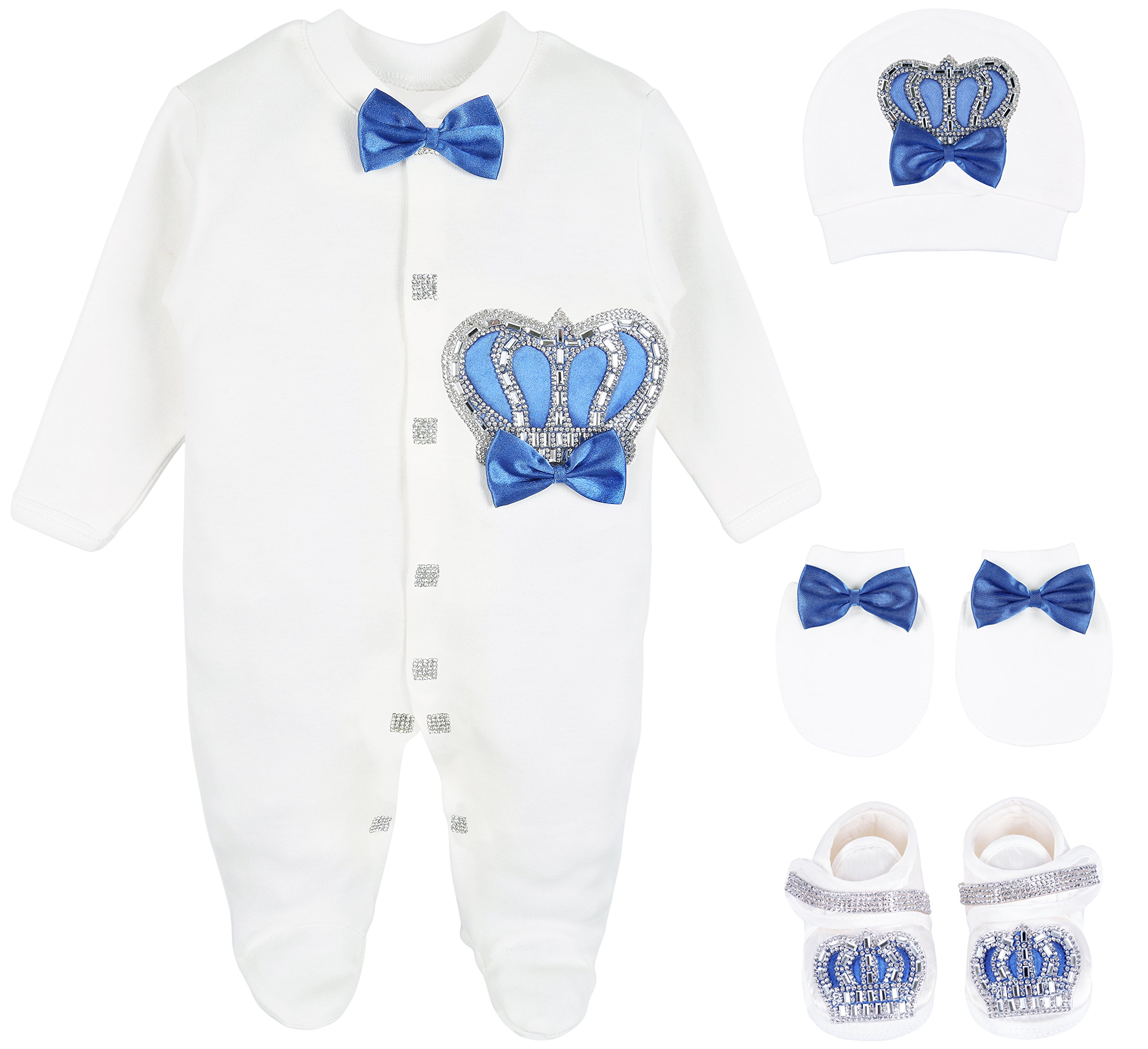 Lilax Baby Boy Newborn Crown Jewels Layette 4 Piece Gift Set 0-3 Months Royal Blue 0-3M by Lilax